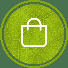 Shopping-Icon auf grünem Blatt